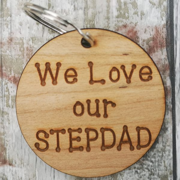 We Love Our Stepdad Circle Keyring