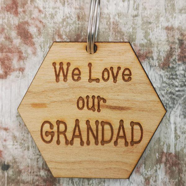 We Love Our Grandad Hexagon Keyring