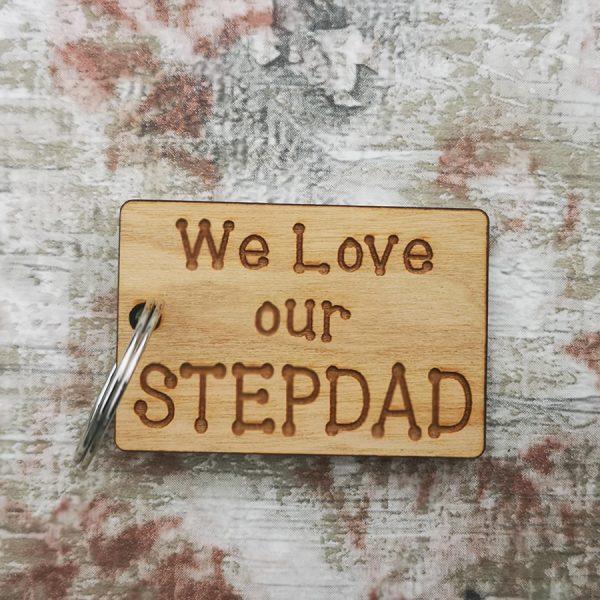 We Love Stepdad Rectangle Keyring