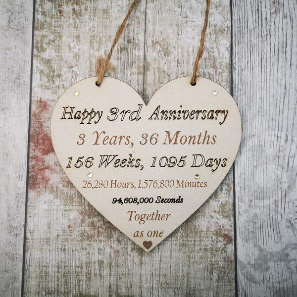 3rd Anniversary Heart - Weeks Months Days