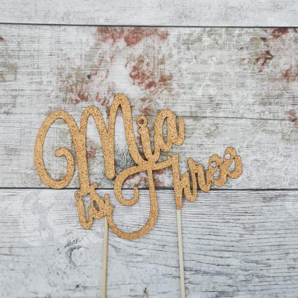 Gold GLitter Birhtday Cake Topper